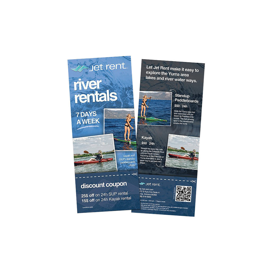 River rental rack cards