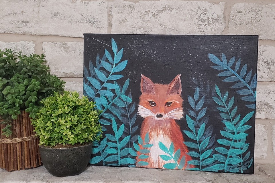 Fox on black canvas