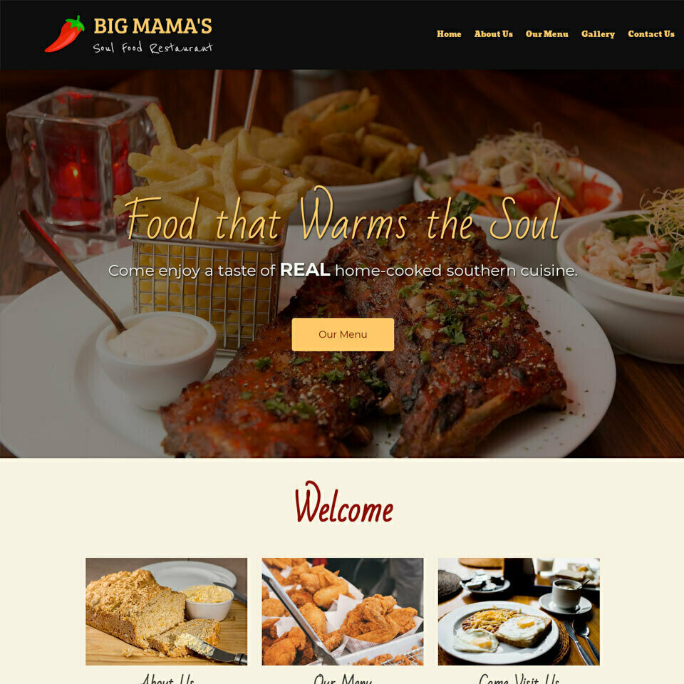 Soul food website template 960x960