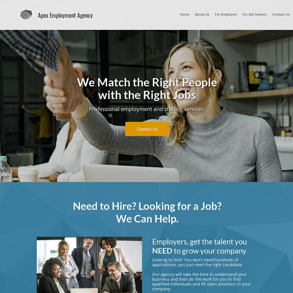Staffing agency website template original