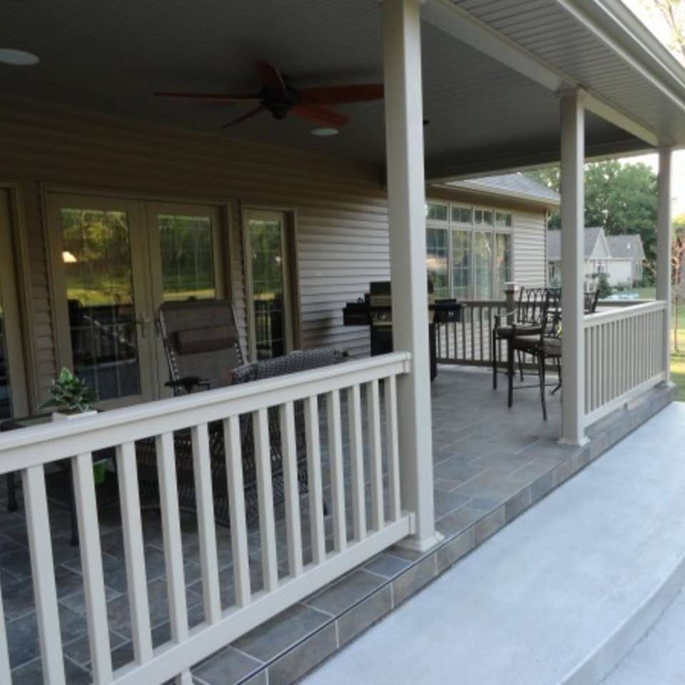 Almond railing porch installation in boise idaho