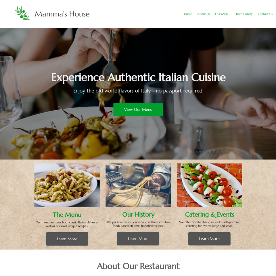 Italian restaurant website design theme original
