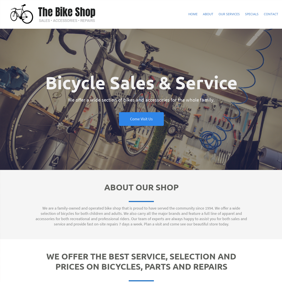 Bike shop website theme original