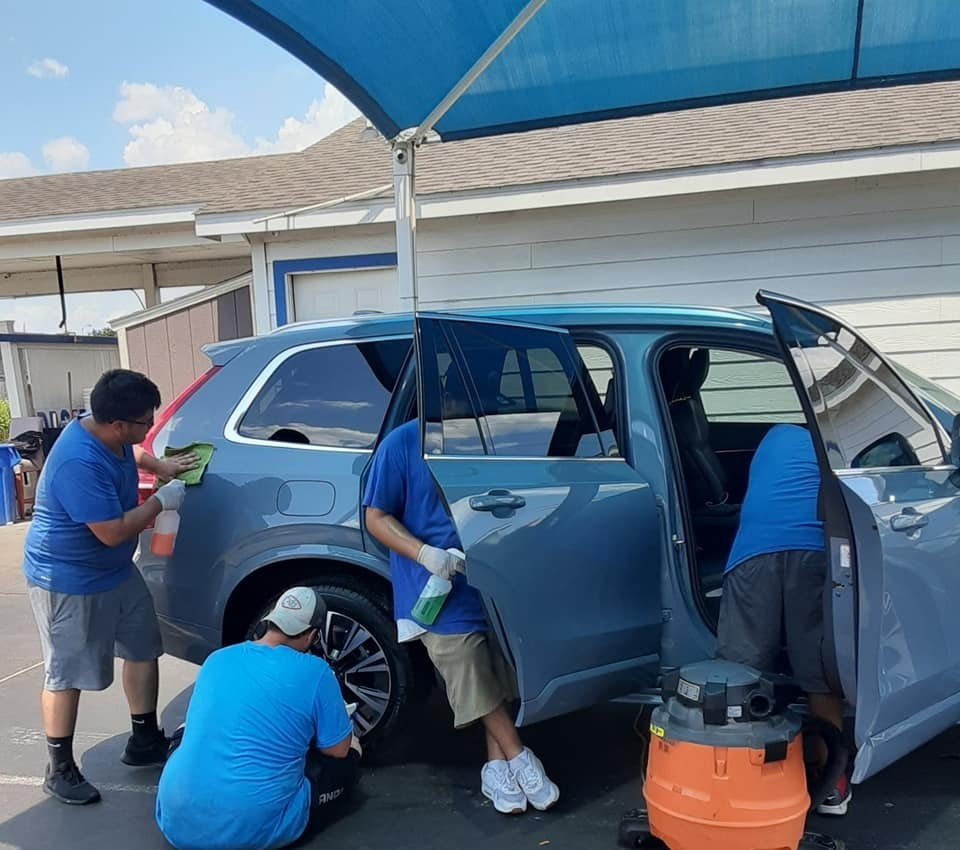 Crew Handwashing a Van in Houston