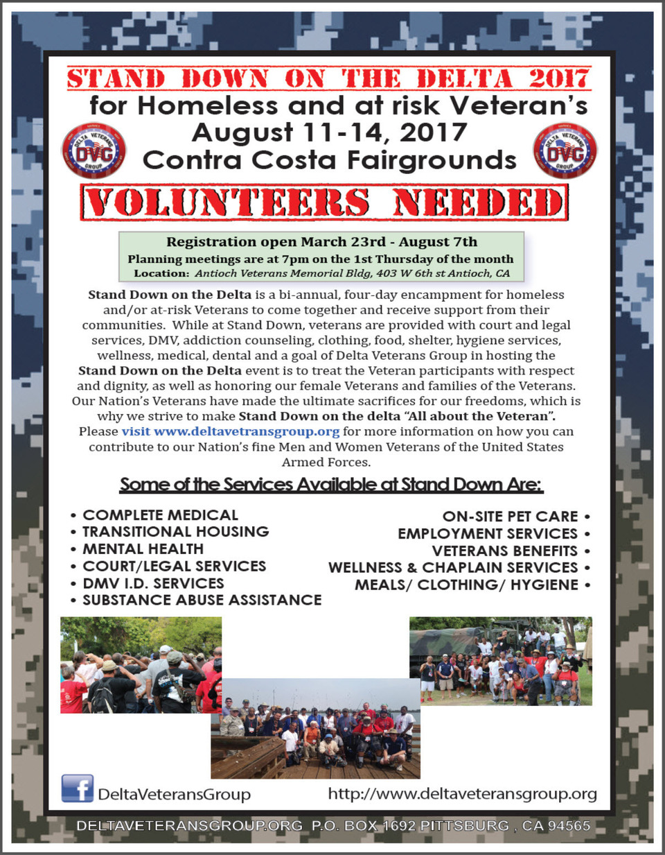 Stand down on the DeltaVolunteer Registration