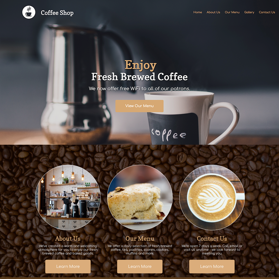 Coffee shop website design theme original