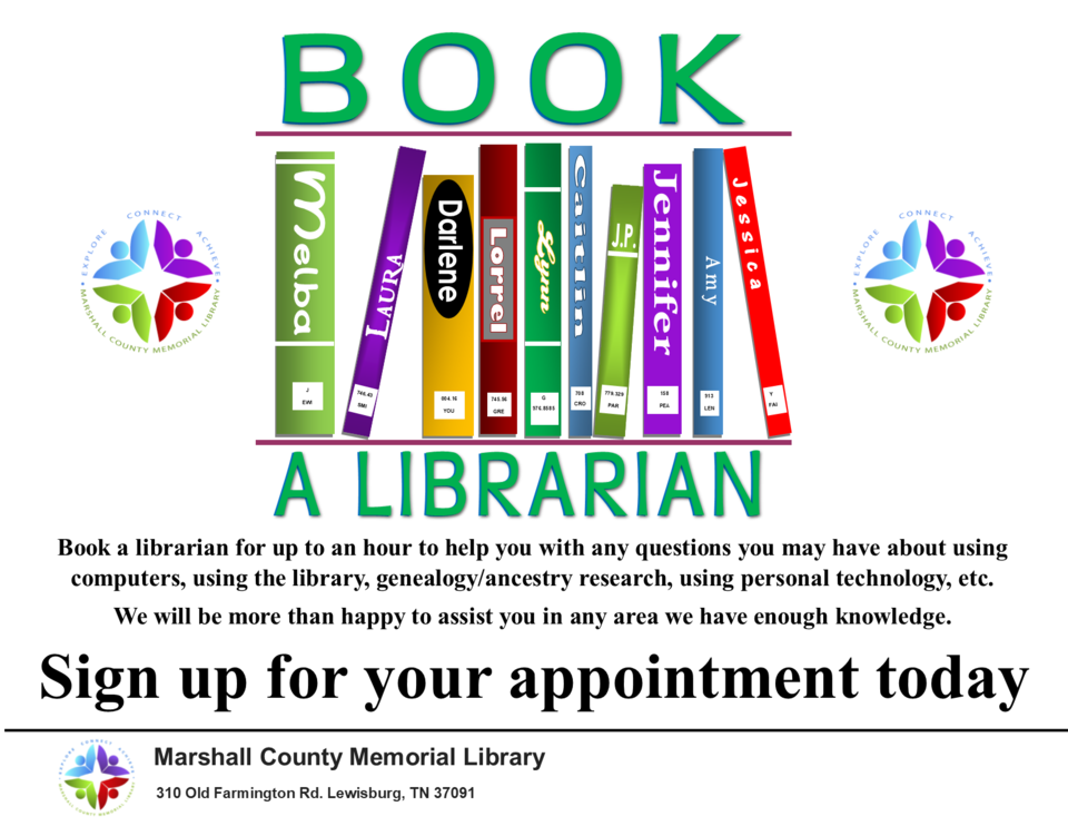 Book a librarian sign