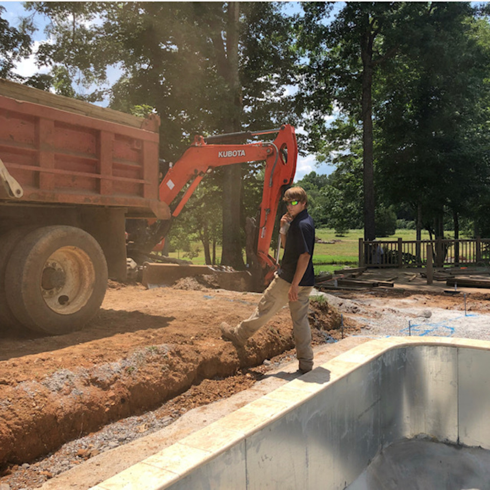 Bevill ext pool being built sawyer