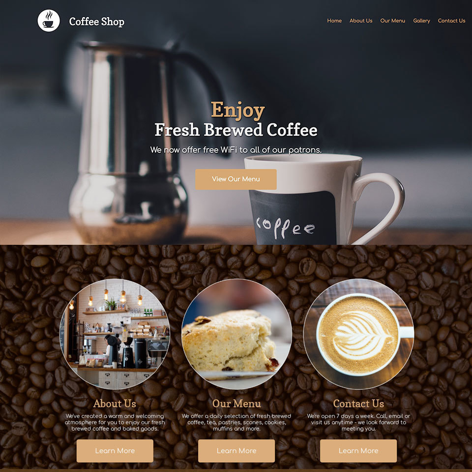 Coffee shop website design theme 960x960