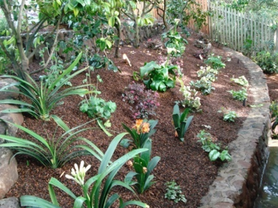 Landscaping above Stone Retaining Wall