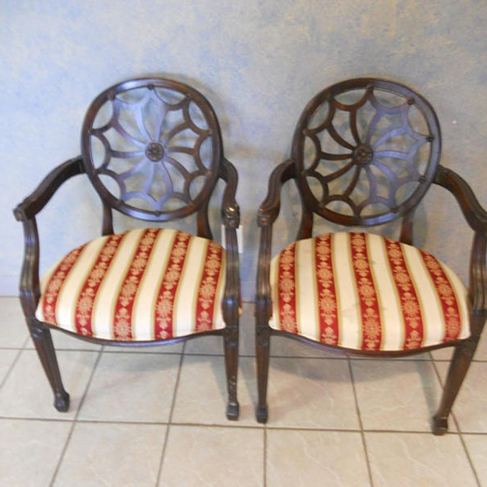 Wooden pair red stripe fabric chairs20111107 29865 1rrb38w 0
