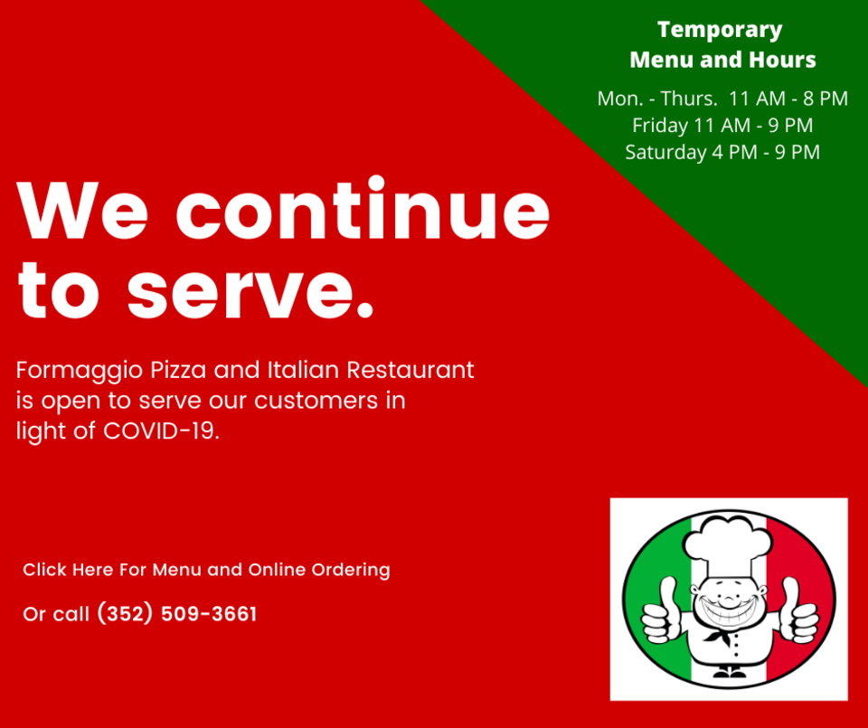 Formaggio pizza temporary hours