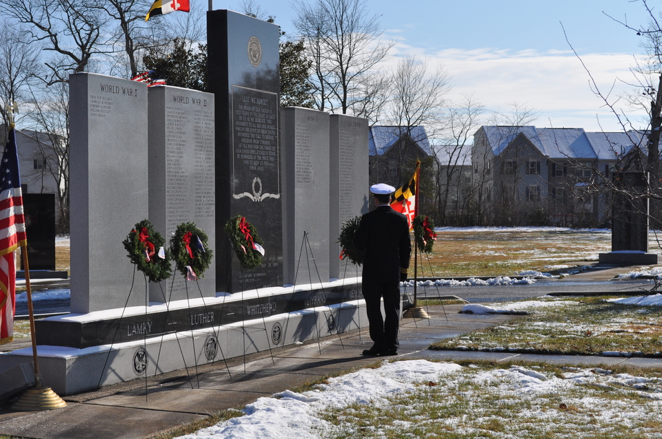 Wreaths laid at Lamky, Luther, Whitehead Memorial