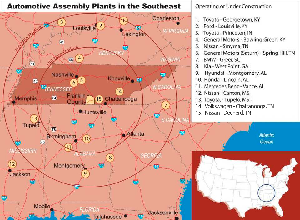 Automotive Assembly Plants in the Southeast