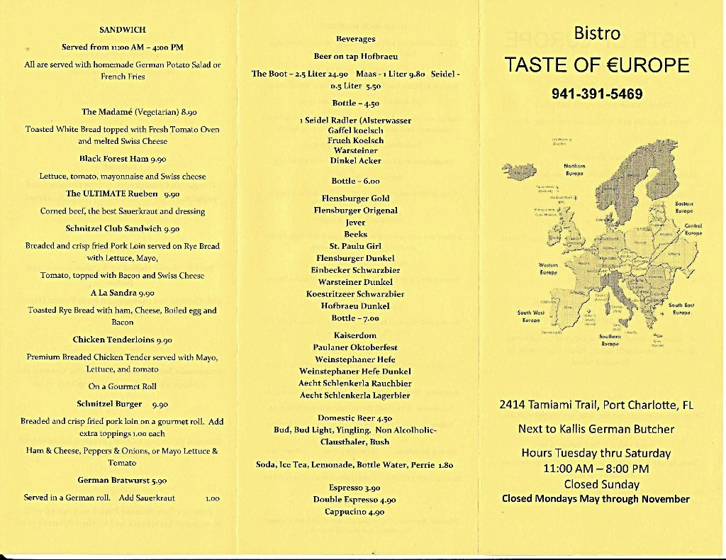Taste Of Europe Bistro - Family table north port menu